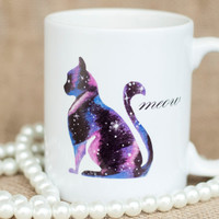 Galaxy - Black - Pastel Universe Cat Lady Coffee Mug