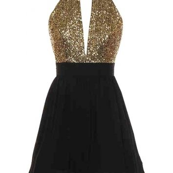 Open Back Sequin Dress - Kely Clothing