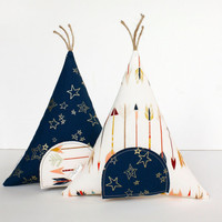 Arrows and Gold Stars Tooth Fairy Teepee Toy Pillow, Kids Pillow, Boys, Girls, Children, Toy,  Stuffed Toy, Keepsake, Tipi