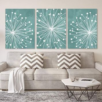 DANDELION WALL ART, Teal Bedroom Wall Art, Watercolor Dandelion Canvas or Prints Teal Bathroom Wall Decor, Living Room Pictures, Set of 3