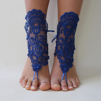 Midnight Blue Lace Barefoot Sandals,Wedding Shoes,Beach Wedding,Costume Accessories,Barefoot Sandals