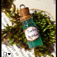Zombie Antidote Bottle Necklace - Zombie Juice - Potion Necklace - Bottle Jewelry - Gothic Pendant - Alternative Jewelry