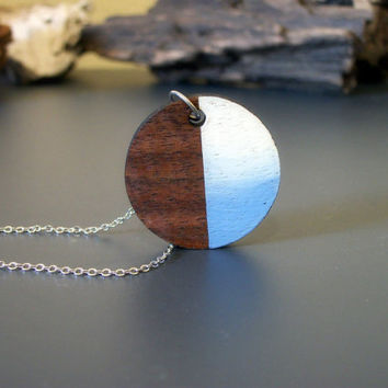 Circle hand painted laser cut wood pendant necklace, geometric necklace, modern, minimalist, laser cut wood, color block, ombre, gradient