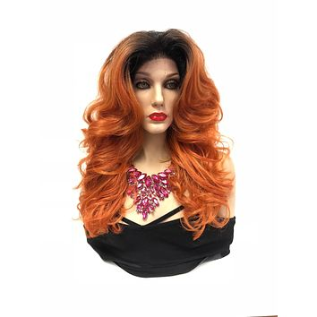Copper Orange Ombre Swiss lace front wig  4x4 Multi parting   Peggy Bundy Costume Wig   918 23 Friendships