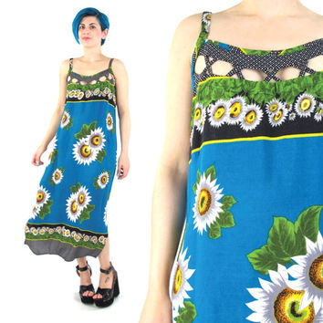 90s Sunflower Maxi Dress Criss Cross Cut Outs Strappy Summer Sun Dress Hippie Boho Grunge Sleeveless Turquoise Teal Floral Print Dress (M)
