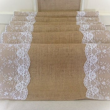 "Burlap & Lace Table Runner  12"", 14"", or 15"" wide with White or Ivory Lace"