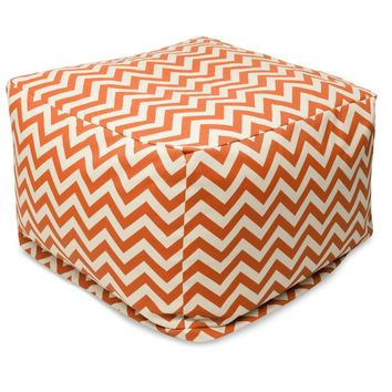 Burnt Orange Chevron Large Ottoman