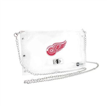 V0NE05TF NHL Little Earth Detroit Red Wings Clear Envelope Purse