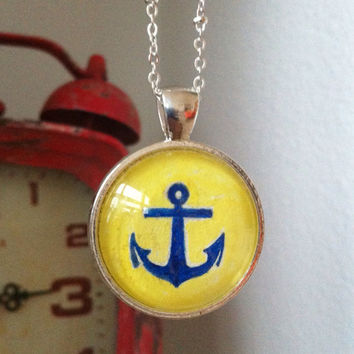 Anchor Pendant Necklace Painted pendant Blue Anchor Necklace Blue & Yellow Nautical Jewelry Custom Handmade Jewelry Navy Wife Sailors Anchor