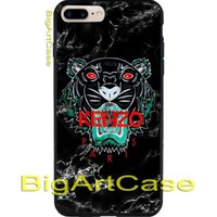 Hot Kenzo Paris Tiger Black Marble Hard Plastic Case Cover iPhone 7 and 7 plus