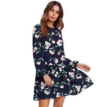 RWL BOUTIQUE Allover Flower Print Drop Waist Dress Ladies Navy Long Sleeve Autumn Womens Dresses Elegant Floral A Line Dress