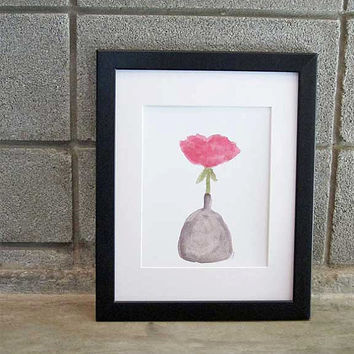 Pink Rose in Vase Watercolor Still Life Art Print 8x10 Contemporary Flower Painting Pink Fuschia