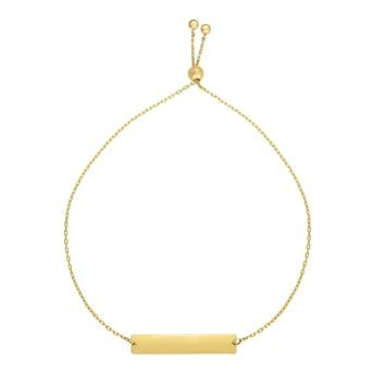 14k Yellow Gold Adjustable Personalized Bar Charm Bolo Bracelet, 9.25""