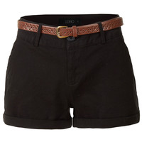LE3NO Womens Stretchy Casual Twill Shorts with Belt