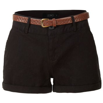 Stretchy Casual Twill Shorts with Belt