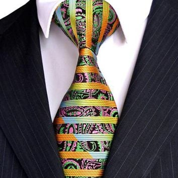 Stripe Paisley Multicolor Silk Neckties
