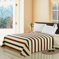 decorUhome 100% Cotton Bed Sheets Home Textile Bedding Coverlet Flat Sheet Queen King Size Stripes Bed Sheet Soft Warm Bedsheets