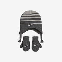 The Nike Stripe Toddler Knit Hat and Mittens Set.