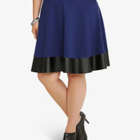 Ponte & Leather Skater Skirt
