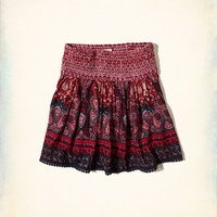 Patterned Smoked-Waist Skirt