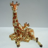 Resting Giraffe and Baby Figurine BOX Swarovski Crystals Mother and Child Jewelry Box, Trinket or Pill Box