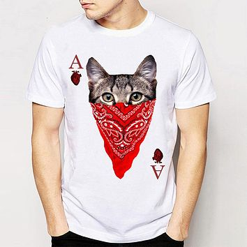 Summer cat Design men Hipster Funny T shirt Shirts creative mens Short sleeve Casual popular