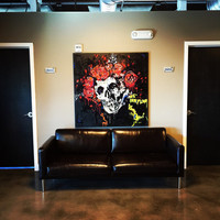 Grateful Dead Art Large Wall Art Wall Hanging 48x48 Jerry Garcia Rock Art Skull and Roses Original Painting Gifts for Him Rock and Roll Art