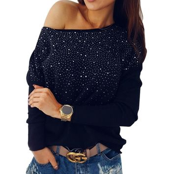 New Fashion Women Velvet Shirts Rhinestone Long Sleeve T-Shirt Bling Diamond O Neck Loose Women T-Shirt Tee Autumn Winter Tops