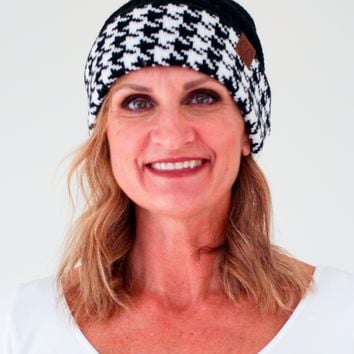 Houndstooth Strip CC Beanie