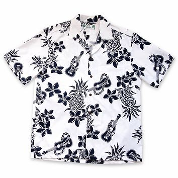 Ukulele Fun White Hawaiian Cotton Shirt