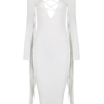 Honey Couture ELINA White Tassle Midi Dress