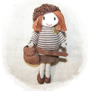 Pregnant  Doll Brooch Pin Pregnancy Mommy Jewelry Mother Woman Brown Fabric Knitting Hat Leather Shoes Bag 3.4 in 9 cm Customizable