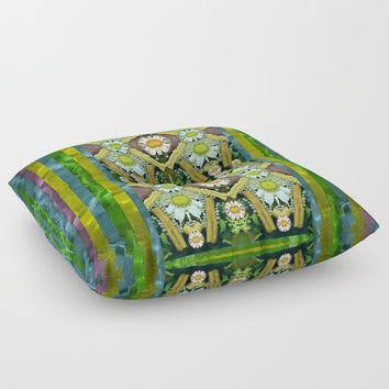 Bread sticks and fantasy flowers in a rainbow Floor Pillow by Pepita Selles