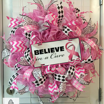 Believe In A Cure Breast Cancer Ruffle Deco Mesh Wreath