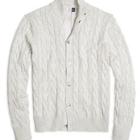 Men's Supima Cotton Button-Front Grey Cable Knit Cardigan | Brooks Brothers