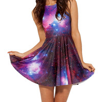 Purple Sleeveless Galactic Print Skater Dress