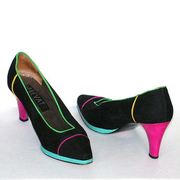 Vintage Prevata Shoes Black Pumps High Heels  Pink  Green Yellow Turquoise Aqua Italy