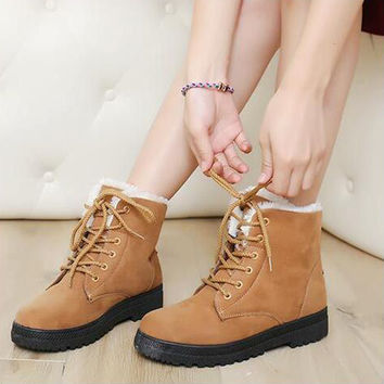 Suede Round Toe Flat Heel Lace Up Snow Boots