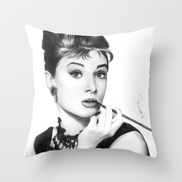 Audrey Hepburn Pencil drawing Throw Pillow by Thubakabra