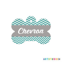 Pet ID Tag, Dog Tag, Cat Tag, Dog Bone Unique, Fun, Cute, Personalized Custom Name Bag Tag for your Animal, Chevron, Stripes, Rainbow