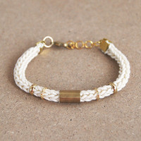Knit bracelet with tube, cord bracelet, tube bracelet, stacking bracelet, cream bracelet, cotton bracelet