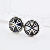 Geometric Stud Earrings, Spiral Earrings, Circles Earrings, Black and White, Silver Jewelry, Small Earrings, Post Earrings, simple earrings
