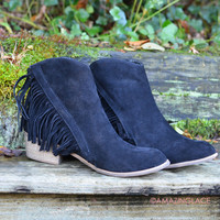 Southwest Bluffs Black Fringe Ankle Booties