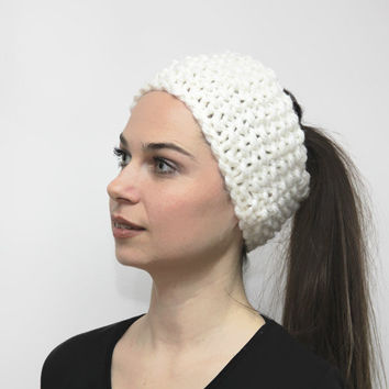 White Headband, Hand Knit Headband, Earwarmer, Knitting by Solandia, Head Wrap, Turband, Bulky Headband, Hair Accessories, Women Fashion