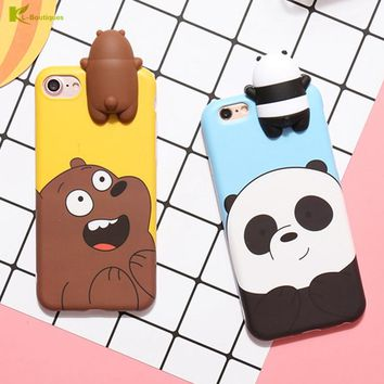KL-Boutiques 3D Cartoon Panda Case for Coque iphone 7 6 Cases Naughty Bear Silicon Cover for iphone 6 6S 7 Plus Fundas Men Women
