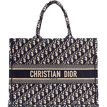 Dior Book Tote - Oblique Navy