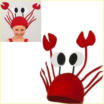 DKF4S Halloween funny hats for party Unique Cute Crab Hat Cap for Easter Halloween Christmas Party Decoration  Red