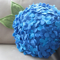 Fleece Hydrangea Pillow in Blue Soft and Snuggly by Buffalovely