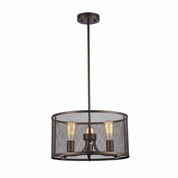 "Ironclad, Industrial-Style 3 Light Rubbed Bronze Ceiling Pendant 16"" Wide"