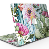 Vintage Watercolor Cactus Bloom - MacBook Air Skin Kit